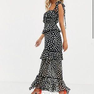 MIDI black polka dot dress